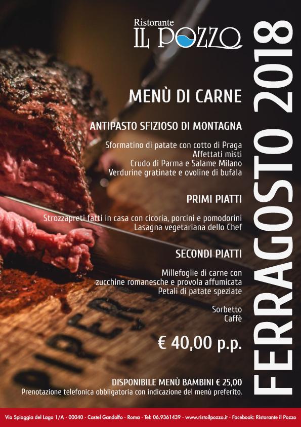 ferragosto a castel gandolfo: menu base carne